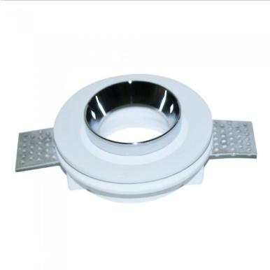 Χωνευτό φωτιστικό spot GU10 γύψινο στρογγυλό με λευκό & χρώμιο σώμα