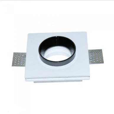 Χωνευτό φωτιστικό spot GU10 γύψινο τετράγωνο με λευκό & μαύρο σώμα
