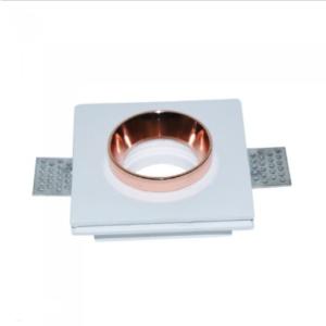 Χωνευτό φωτιστικό spot GU10 γύψινο τετράγωνο με λευκό & ροζ χαλκός σώμα