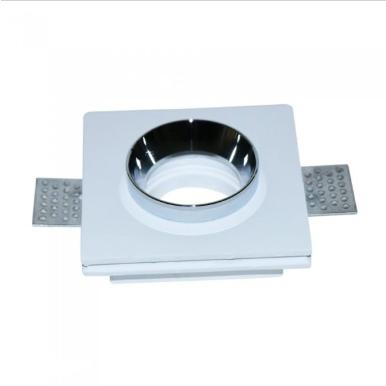 Χωνευτό φωτιστικό spot GU10 γύψινο τετράγωνο με λευκό & χρώμιο σώμα