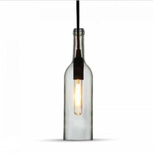 Μονόφωτο κρεμαστό φωτιστικό με σχήμα μπουκαλιού Γυαλί με Διάφανο σώμα