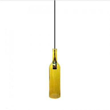 Μονόφωτο κρεμαστό φωτιστικό με σχήμα μπουκαλιού Γυαλί με Κίτρινο σώμα