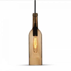 Μονόφωτο κρεμαστό φωτιστικό με σχήμα μπουκαλιού Γυαλί με Καφέ σώμα