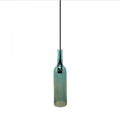 Μονόφωτο κρεμαστό φωτιστικό με σχήμα μπουκαλιού Γυαλί με Μπλε σώμα