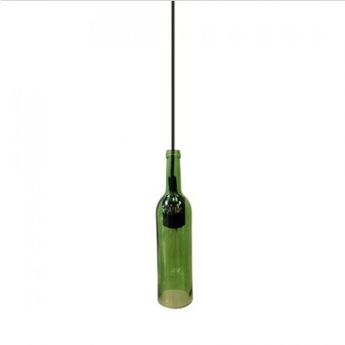 Μονόφωτο κρεμαστό φωτιστικό με σχήμα μπουκαλιού Γυαλί με Πράσινο σώμα