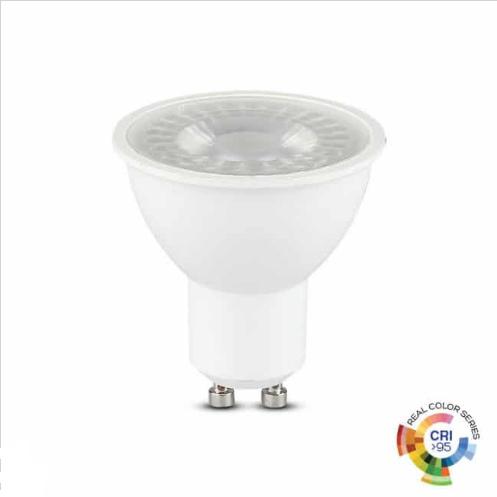 Λάμπα LED Spot GU10 SMD 6W λευκό 6400K λευκό σώμα 38° CRI>95
