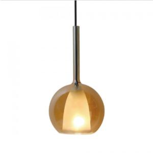 Μονόφωτο κρεμαστό φωτιστικό Γυαλί & μέταλλο με Amber + Λευκό σώμα