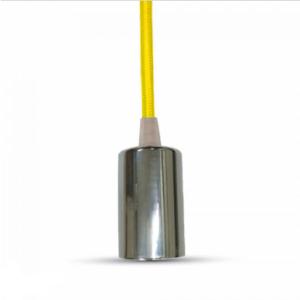Μονόφωτο κρεμαστό φωτιστικό χρώμιο με Κίτρινο καλώδιο