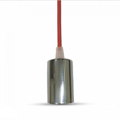 Μονόφωτο κρεμαστό φωτιστικό χρώμιο με Κόκκινο καλώδιο