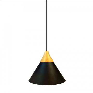 Μονόφωτο κρεμαστό φωτιστικό Αλουμίνιο & ξύλο με Μαύρο σώμα