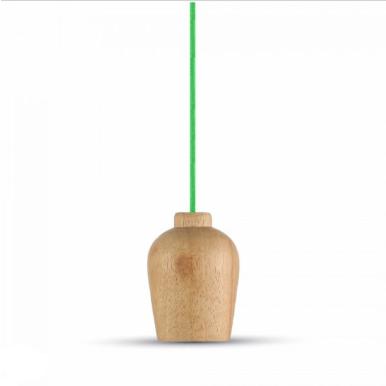 Μονόφωτο κρεμαστό φωτιστικό Ξύλο με Πράσινο καλώδιο σώμα