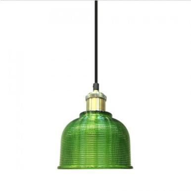 Μονόφωτο κρεμαστό φωτιστικό Γυαλί & μέταλλο με Πράσινο γυαλί σώμα