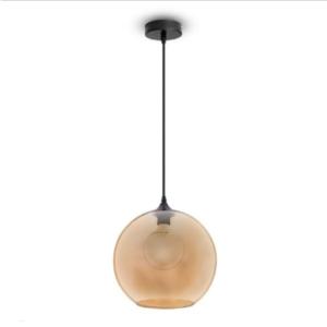 Μονόφωτο κρεμαστό φωτιστικό Γυαλί & μέταλλο με Amber σώμα