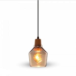 Μονόφωτο κρεμαστό φωτιστικό Γυαλί & ξύλο με Διάφανο γυαλί σώμα