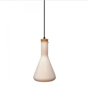 Μονόφωτο κρεμαστό φωτιστικό Γυαλί & ξύλο με Λευκό γυαλί σώμα