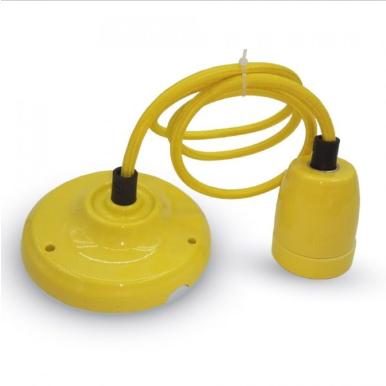 Μονόφωτο κρεμαστό φωτιστικό Πορσελάνη με Κίτρινο σώμα