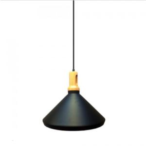 Μονόφωτο κρεμαστό φωτιστικό Σίδερο και ξύλο με Μαύρο σώμα