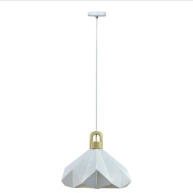 Μονόφωτο κρεμαστό φωτιστικό Pastel Prism με Λευκό σώμα & ξύλινη βάση