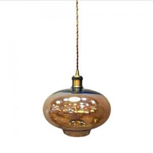 Μονόφωτο κρεμαστό φωτιστικό Γυαλί & μέταλλο με Amber γυαλί σώμα