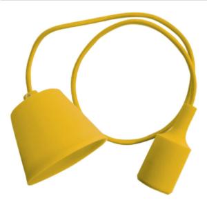 Μονόφωτο κρεμαστό φωτιστικό Σιλικόνη με Κίτρινο σώμα