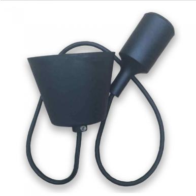 Μονόφωτο κρεμαστό φωτιστικό Σιλικόνη με Μαύρο σώμα