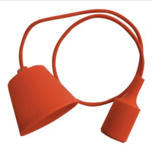 Μονόφωτο κρεμαστό φωτιστικό Σιλικόνη με Πορτοκαλι σώμα