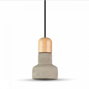 Μονόφωτο κρεμαστό φωτιστικό Τσιμέντο & ξύλο με Γκρι + Wood σώμα
