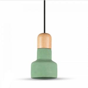 Μονόφωτο κρεμαστό φωτιστικό Τσιμέντο & ξύλο με Πράσινο + Wood σώμα