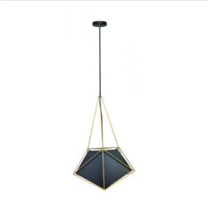 Μονόφωτο κρεμαστό φωτιστικό Net Prism με μαύρο σώμα και χρυσό καλώδιο