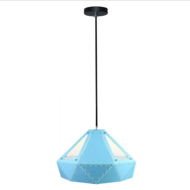 Μονόφωτο κρεμαστό φωτιστικό Pastel Prism με Γαλάζιο σώμα