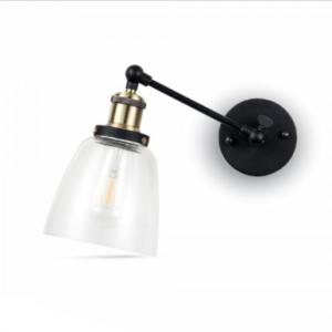 Επιτοίχιο φωτιστικό Γυαλί & μέταλλο με Διάφανο Cone Shape + Μαύρο σώμα