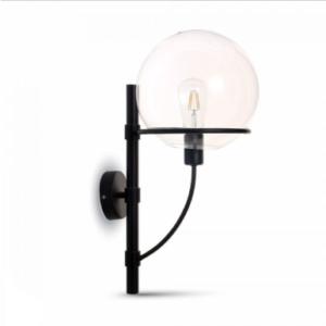 Επιτοίχιο φωτιστικό Γυαλί & μέταλλο με Διάφανο Globe Shape + Μαύρο σώμα