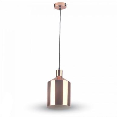 Μονόφωτο κρεμαστό φωτιστικό Σίδερο ηλεκτροστατικά βαμμένο με Rose Χρυσό σώμα