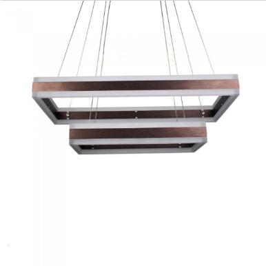 LED πολυέλαιος 115W 3000K Θερμό λευκό Dimmable με καφέ σώμα ορθογώνιος