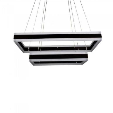 LED πολυέλαιος 115W 3000K Θερμό λευκό Dimmable με μαύρο σώμα ορθογώνιος