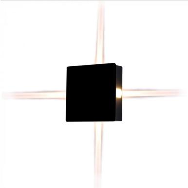 LED απλίκα 4W Τετράγωνη αρχιτεκτονικού φωτισμού 4000K Φυσικό λευκό Μαύρο σώμα