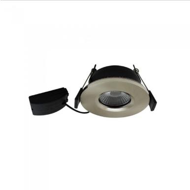 LED φωτιστικό οροφής χωνευτό Στρογγυλό COB 7W 3000K Θερμό λευκό πυρίμαχο 90min Satin nickel σώμα