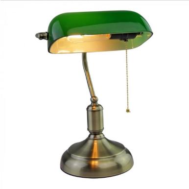 Φωτιστικό γραφείου Vintage E27 γυαλί-μέταλλο πράσινο