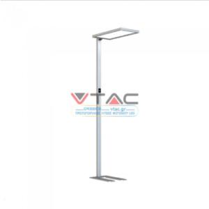 LED Επιδαπέδιο φωτιστικό γραφείου 80W Φυσικό λευκό με ασημί σώμα dimmable αφής