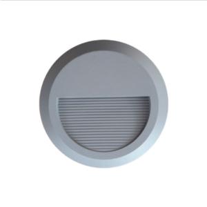 Επιτοίχιο φωτιστικό LED σκάλας 2W Στρογγυλό Γκρι 3000K Θερμό λευκό IP65