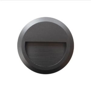Επιτοίχιο φωτιστικό LED σκάλας 2W Στρογγυλό Μαύρο 3000K Θερμό λευκό IP65