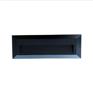 Επιτοίχιο φωτιστικό LED σκάλας 3W Ορθογώνιο Μαύρο 3000K Θερμό λευκό IP65