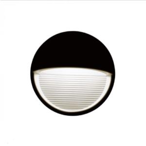 Επιτοίχιο φωτιστικό LED σκάλας 3W Στρογγυλό Μαύρο 3000K Θερμό λευκό IP65