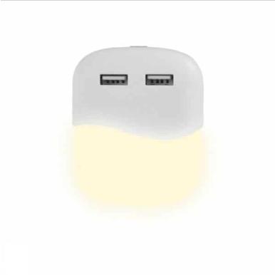 Φωτιστικό νυκτός LED, Σχήμα τετράγωνο 0.50W με 2 USB θύρες και Samsung Chip, Φυσικό λευκό