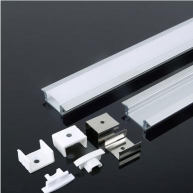Προφίλ αλουμινίου για ταινίες led χωνευτό 2000×24.7x7mm, με λευκό γαλακτερό κάλυμμα