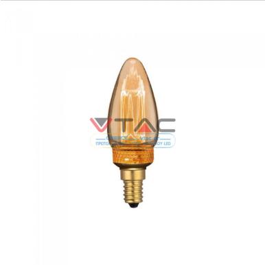 Λάμπα LED E14 Special Art Filament Kερί 2W Amber Θερμό λευκό 1800K