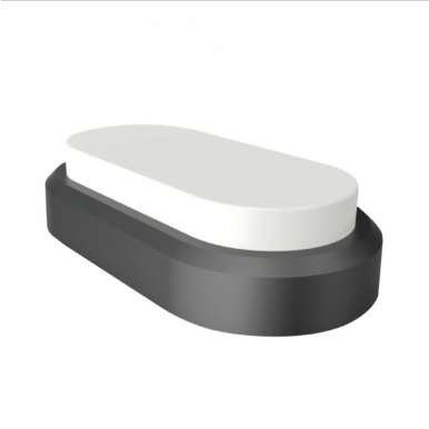 LED πλαφονιερα/απλίκα 8W Οβάλ ορθογώνιο 4000K Φυσικό λευκό Μαύρο σώμα