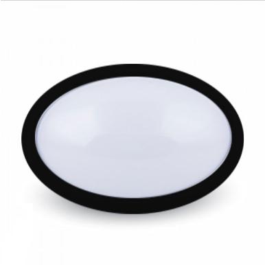 LED πλαφονιερα/απλίκα 12W Οβάλ 6000K Λευκό Μαύρο σώμα