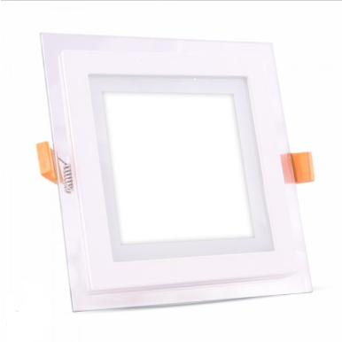 LED panel χωνευτό 6W 4000K Φυσικό λευκό Τετράγωνο γυάλινο