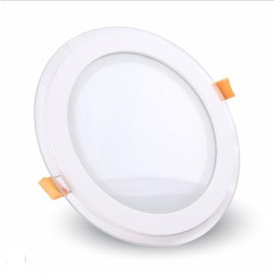 LED panel χωνευτό 12W 6400K Λευκό Στρογγυλό γυάλινο